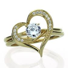 Heart Wedding Rings by Double Accent 14k Yellow Gold Wedding Ring Round Cz Interlocking