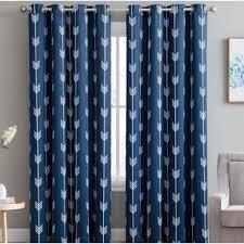 Navy Curtain Navy Blue Patterned Curtains Wayfair