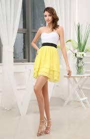 pale yellow plain sweetheart zip up chiffon short bridesmaid