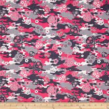 kanvas think pink camo skulls pink gray from fabricdotcom