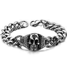 man stainless bracelet images Stainless steel chain link skull bracelets men vintage bangle jpg