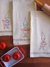 Kitchen Towel Embroidery Designs Kitchen Gnomes Dish Towels Embroidery Patterns Gnomes Perfect