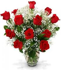 Long Stem Roses Dozen Long Stemmed Roses In Large Vase Dz Long Red Roses W Baby U0027s