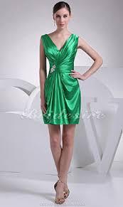 a linie v ausschnitt kurz mini satin brautjungfernkleid mit gefaltet p602 bridesire grün brautjungfernkleider grün