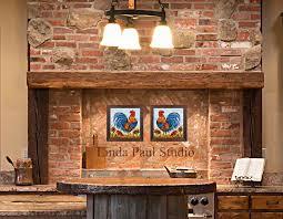 Rooster Decor For The Kitchen Rooster Decor Framed Wall Art Or Backsplash Tile For Kitchen