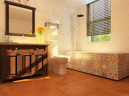 Bathroom Tile Designs Patterns Colors Contemporary Spanish Style Bathroom With Clay Color Tile And