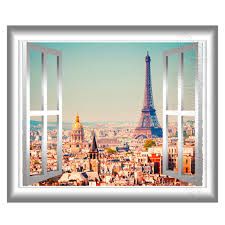 Eiffel Tower Wall Decals 3d Window Wall Decal Eiffel Tower Paris Home Decor France 3d