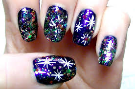 new year nail art sparkly starry night tutorial perfect for