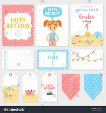Six Flags Birthday Set Six Birthday Cards Notes Labels Stock Vector 388643512