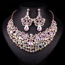 rhinestone necklace sets wholesale images Fashion rhinestones necklace earrings set indian bridal jewelry jpg