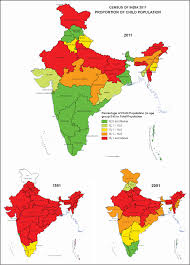 Map Of Indian States by Decreasing Proportion Of Child Population In Indian States 1991