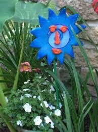 Ceramic Garden Art Ceramic Sun Face Garden Stakes Yard Art Great Gift Lawn Decor