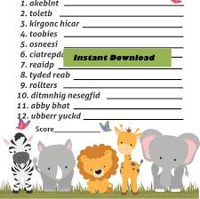 baby word scramble jungle safari animal game safari animal