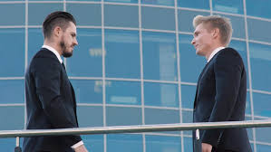 Banister Clips Two Business Men Standing Near The Banister And Speaking On The