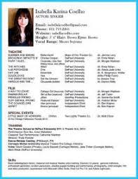 Resume For Theater Sample Resume For Theater Audition Resume Pdf Download