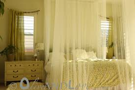 white sheer canopy bed curtain amys office