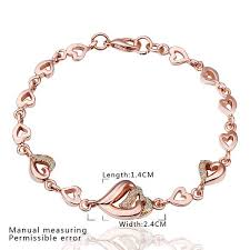 rose gold womens bracelet images Alloy crystal heart women office chain rose gold plated platinum jpeg