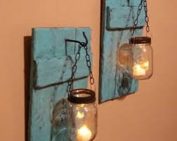 Jar Candle Wall Sconce Candle Holders Set Of 2 Rustic Candles Country Decor
