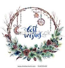 watercolor boho christmas wreath made spruce stock illustration
