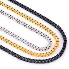 black necklace box images 3mm stainless steel box chain necklace high quality link men jpg