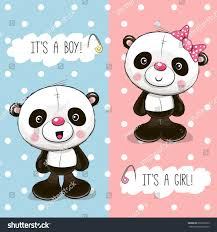 baby shower greeting card pandas boy stock vector 692299723