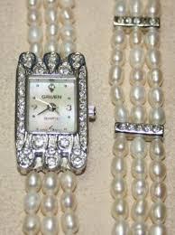 ladies pearl bracelet watches images Gruen ladies watch pearl band pearl bracelet jpg