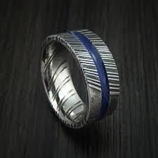 thin blue line wedding band damascus steel ring with center blue inlay thin blue line wedding