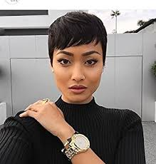 short hairstyle wigs for black women amazon com short black pixie cuts hair synthetic short wigs for