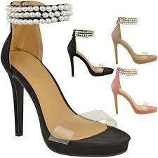 womens ladies platform high heel sandals pearl diamante strappy
