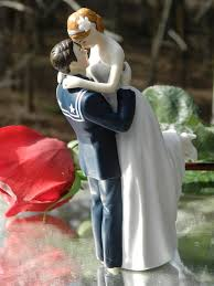 military usn navy sailor wedding cake topper pose bride