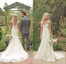 country lace modest wedding dresses 2015 new backless v back