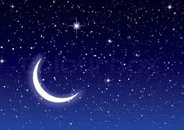 nights sky with moon and ideal desktop or background stock