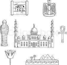 egypt travel sketched icons with cairo mosque pharaoh mummy