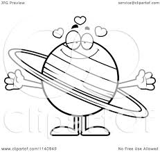 cartoon clipart of a black and white loving planet saturn vector