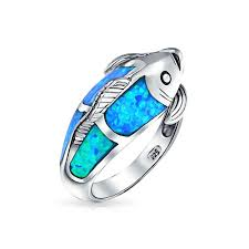 blue opal 925 sterling silver blue opal inlay nautical koi fish ring