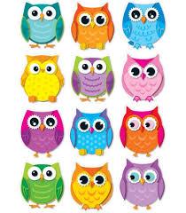 cut outs colorful owls cut outs grade pk 8 carson dellosa publishing