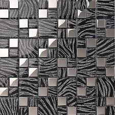 With Black Crystal Glass Mosaic Tiles Plated Glass Kitchen Wall - Silver backsplash