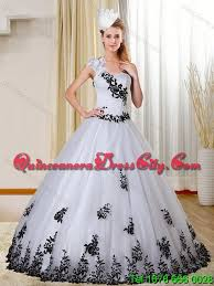 black and white quinceanera dresses cheap one shoulder white and black quinceanera dress with