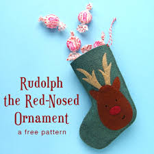 free christmas pattern rudolph the red nosed ornament shiny