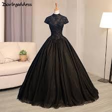 robe de mari e gothique luxe noir gothique robes de mariée col haut dentelle robe de bal