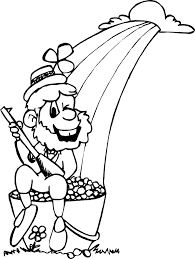 leprechaun with pot of gold coloring page 3