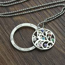 Birthstone Name Necklace Family Tree Necklace Personalized Mom Necklace Engraved Our Family