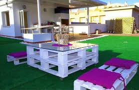 diy pallet furniture ideas patio white painted pink seating cushions