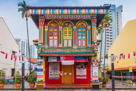 colorful building colorful facade of building in little india singapore editorial