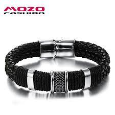 black magnetic bracelet stainless images Mozo fashion men charm bracelet black leather bracelet stainless jpg