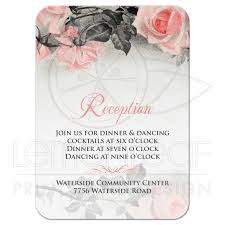 Wedding Reception Card Blush Pink Gray Rose Wedding Reception Card Vintage Rose Flower