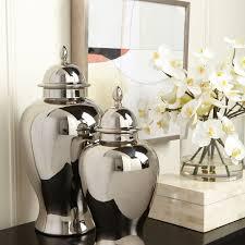 silver home decor small platinum temple jar ethan allen us