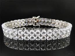 diamond bracelet silver images Mens 925 sterling silver round cut two row simulated lab diamond jpg