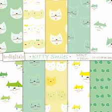 mint wrapping paper cats printable paper digital scrapbook paper gift wrapping