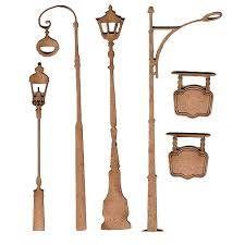 mini street lights and lamps wood shapes 3 for art and crafts